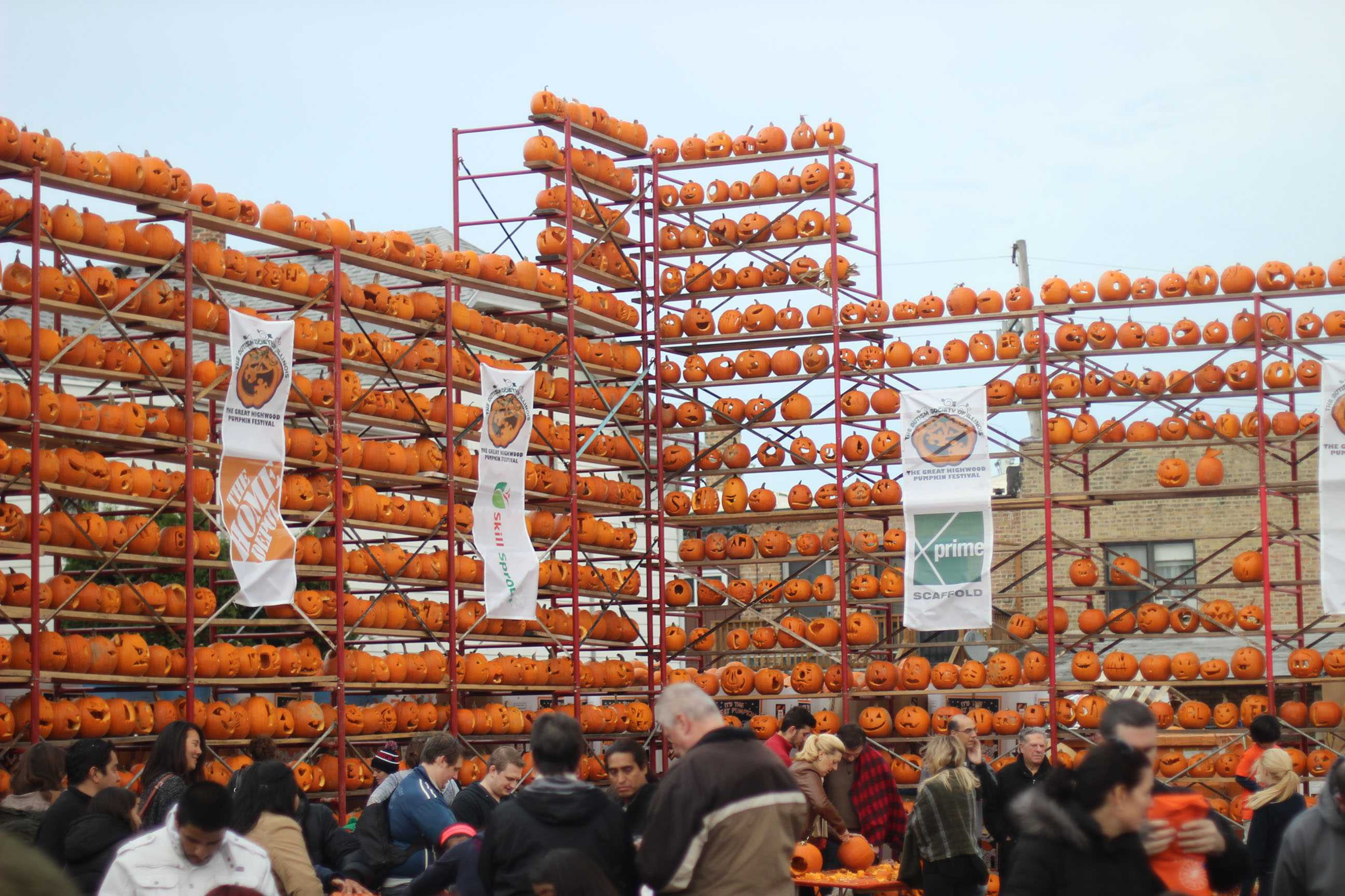 THE GREAT WALL: The 21,000 pumpkins carved during Pumpkin Fest were displayed on racks, some of which soared beyond 50 feet in height. These walls of pumpkins stretched across the festival grounds. During the nightly lighting ceremonies, spectators watched as these walls were illuminated with carved faces, shapes and symbols.