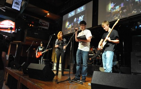 Senior Alec Lopata directs his annual charity event, Bands  Battling Cancer, at The Alley in Highwood. In 2014, the show raised $6,300.00 for the American Cancer Society.