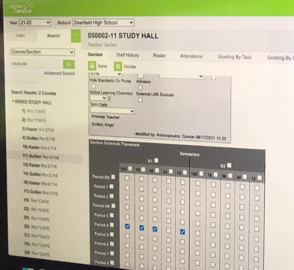 An ordinary study hall section as it appears in Infinite Campus scheduling software. Image courtesy of Dr. Brandt.